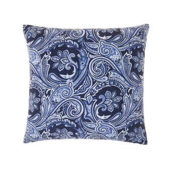 Cotton cushion with paisley print