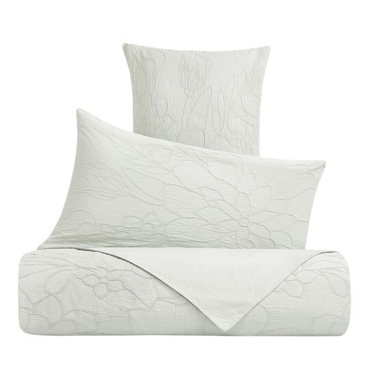 Cotton duvet cover with raised floral pattern