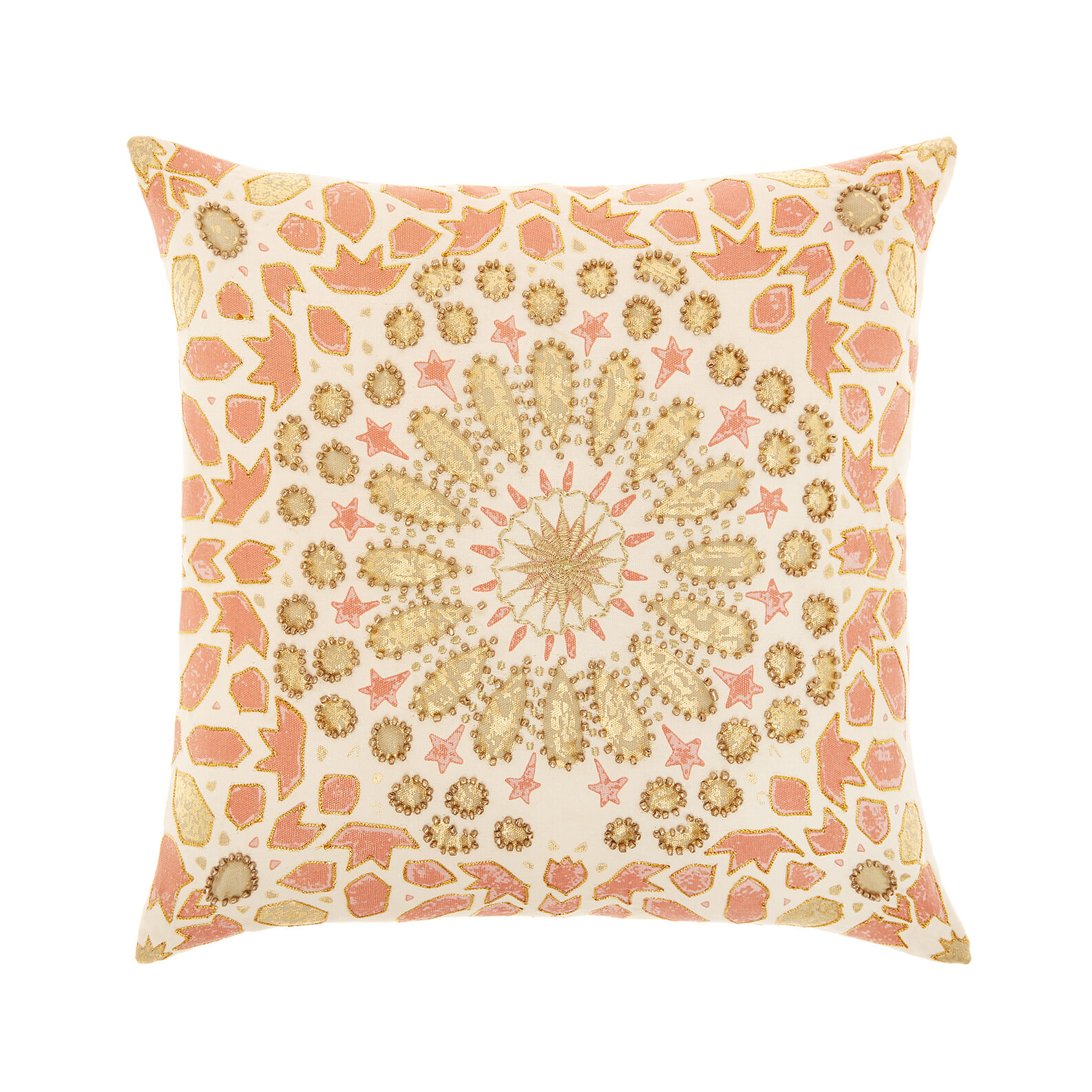 Cushion with embroidery and beads