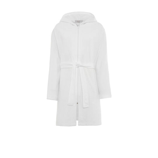 Solid colour cotton terry bathrobe with zip