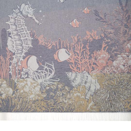 Cotton jacquard beach towel and sarong  with marine design