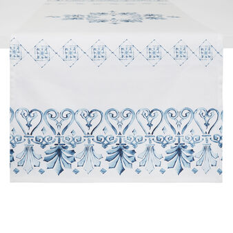 Cotton twill table runner with ornamental print
