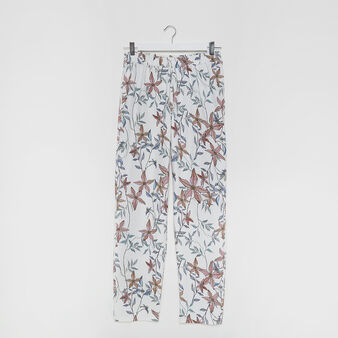 Pantaloni tessuto stampa floreale