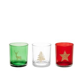 Glass votive candle holder with glitter decoration