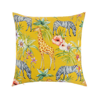 Outdoor cushion in water-repellent cotton with savannah motif