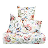 Cotton percale bed sheet set with floral pattern