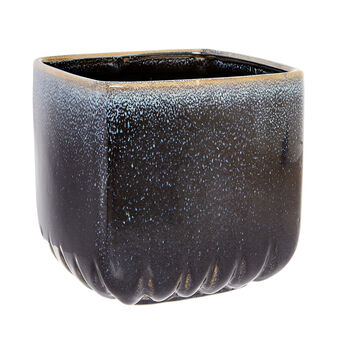 Ceramic cachepot with reactive glazes