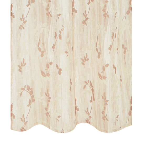 Linen curtain with floral print and hidden tabs