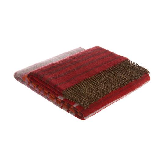 Wool blend throw with multi-stripe design