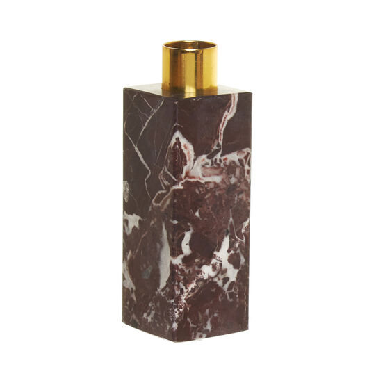 Candeliere cubo in marmo rosso