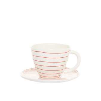 Porcelain teacup with geometric motif