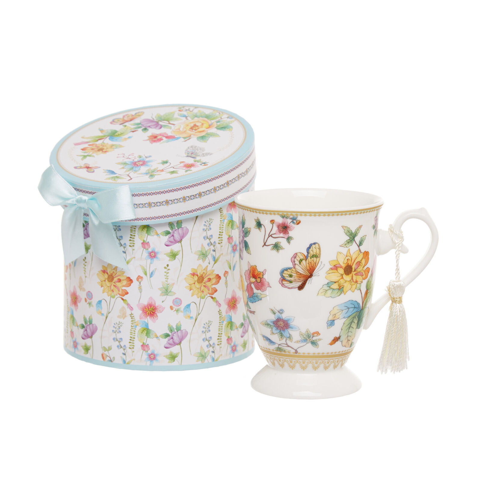 Mug in new bone China with butterfly decoration