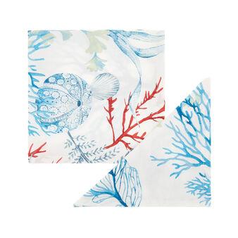 Set 2 tovaglioli puro cotone organico stampa marina
