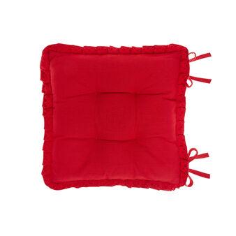 Cuscino da sedia puro cotone bordo in pizzo