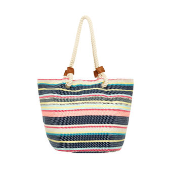 Multi-coloured striped cotton beach bag