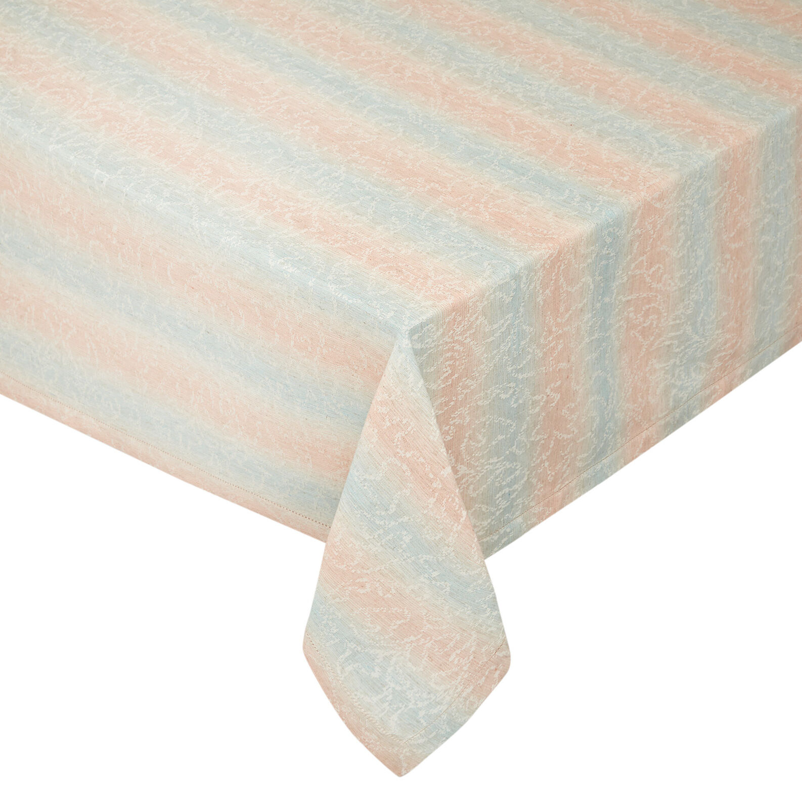 Stonewashed cotton blend table cloth with striped motif.