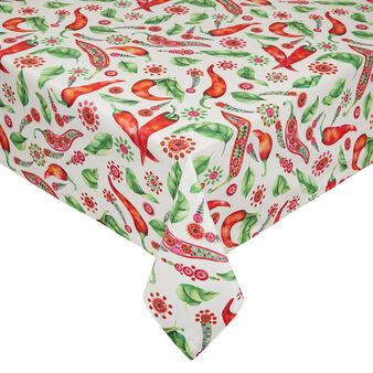 100% Panama cotton tablecloth with chilli pepper print