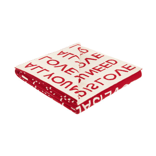 Knitted cotton throw with lettering motif