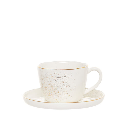 Porcelain teacup sprayed gold
