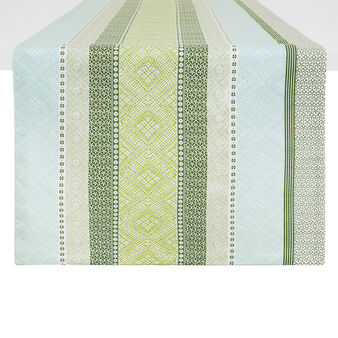 100% cotton table runner with multi-striped print