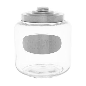 Glass biscuit barrel with stainless steel lid