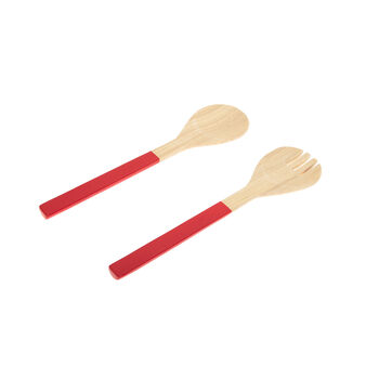 Set of 2 salad servers in two-tone bamboo
