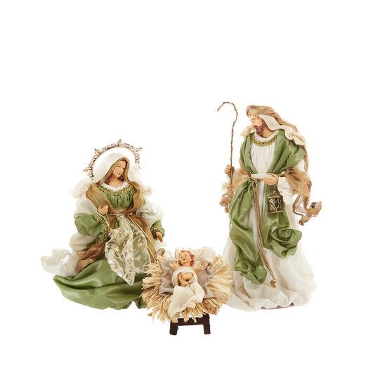 Sacra Famiglia vesti verdi fatta mano