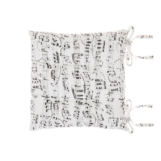 Kitchen seat pad in 100% cotton with musical notes print