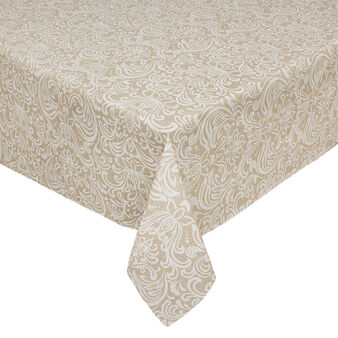 Water-repellent cotton blend tablecloth in with ornamental print