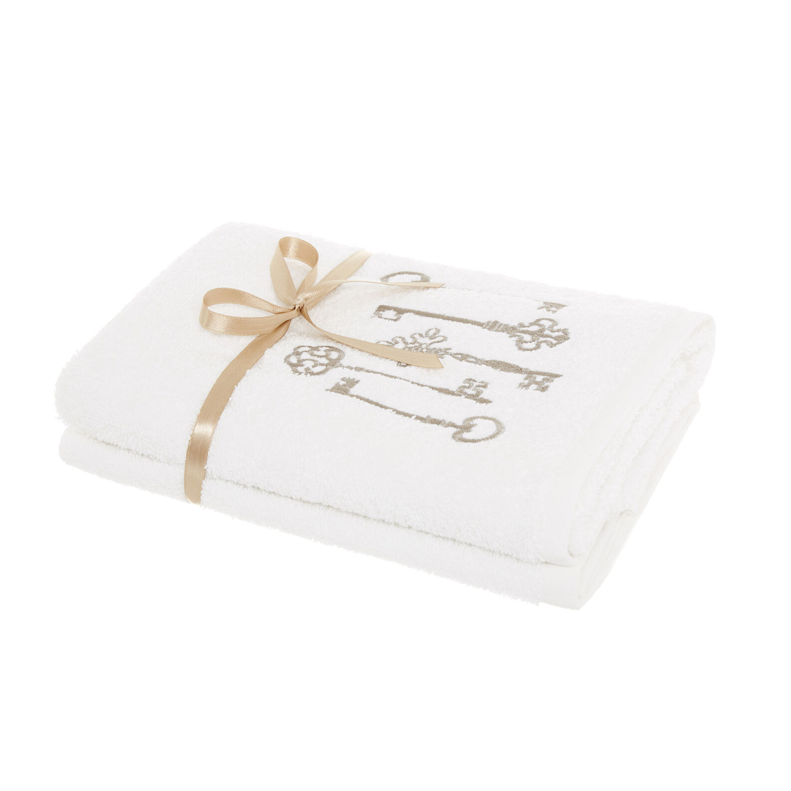 Set of 2 towels with embroidered keys