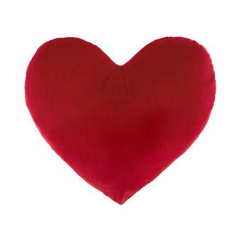 Heart-shaped velvet cushion