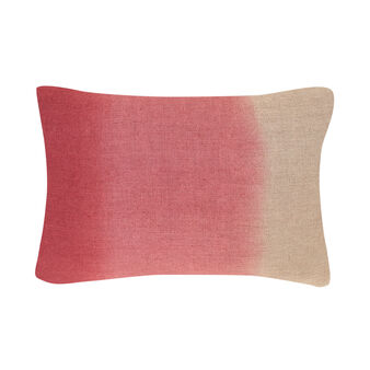 Rectangular linen cushion with tie and dye print