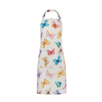 Multicoloured butterflies bib apron in 100% cotton
