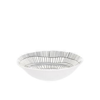 Porcelain soup bowl with geometric motif