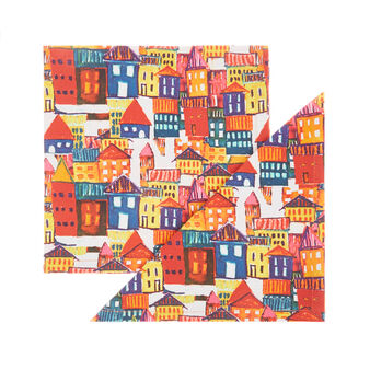 Set of 2 napkins in cotton twill with house print