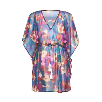Poncho in chiffon stampa floreale