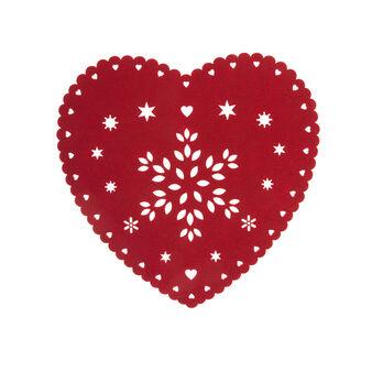 Heart-shaped table mat in openwork felt