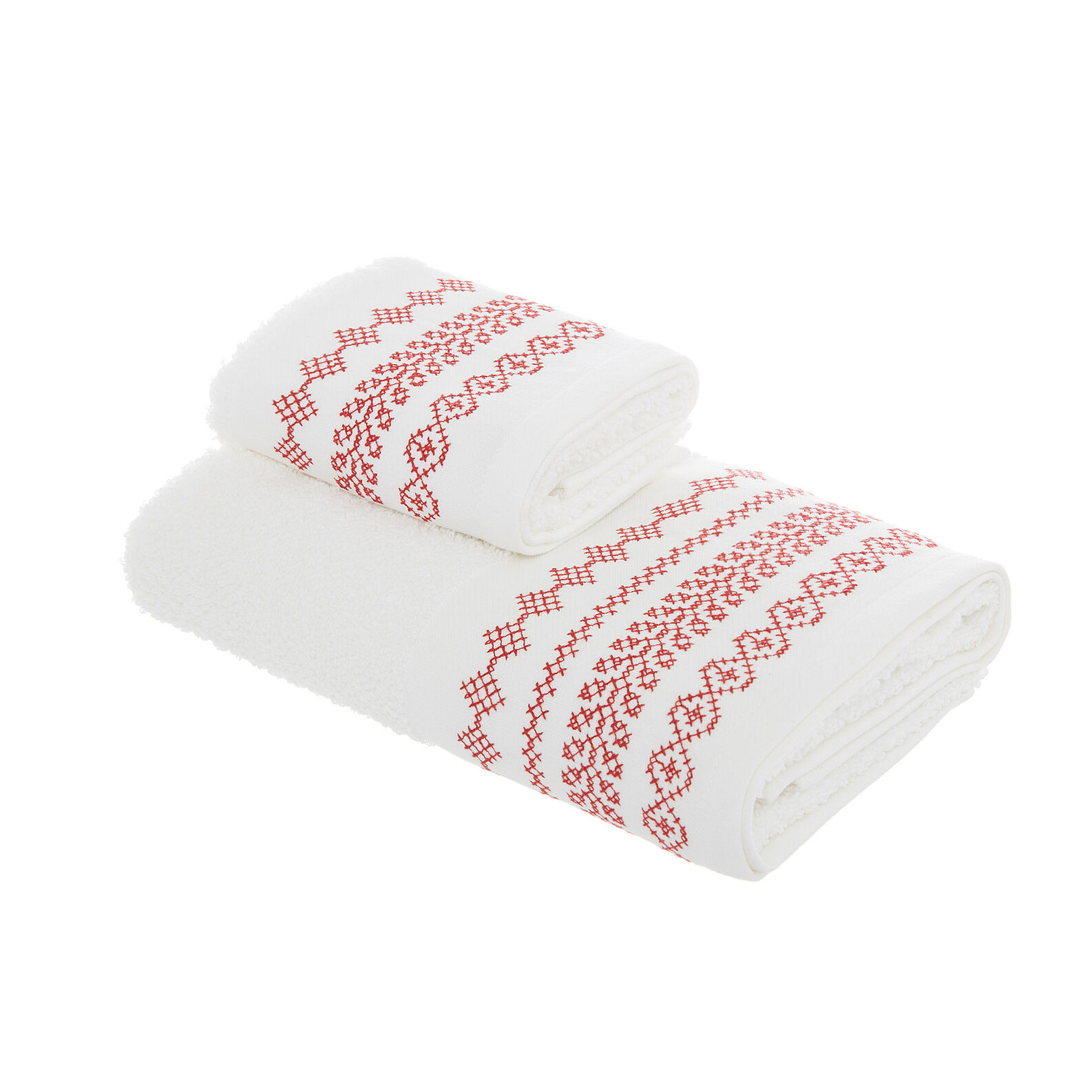 Set of 2 towels with cross-stitch embroidery