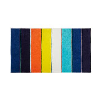 Telo mare cotone velour stampa a righe multicolore
