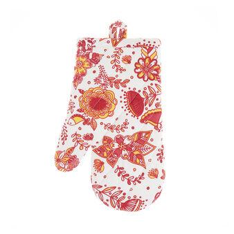 Oven mitt in 100% cotton with mandala bird print