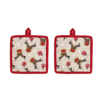 2-pack pot holders in 100% cotton with Rudolph print