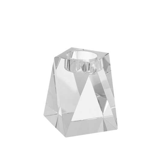 Crystal candle holder in glass H10cm