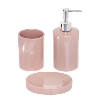 Set of 3 ceramic bathroom accessories