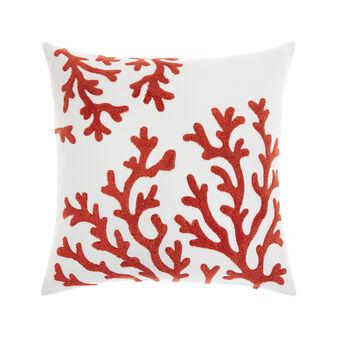 Cuscino cotone ricamo coralli 45x45cm