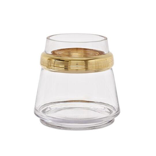 Vaso in vetro fatto a mano con anello dorato