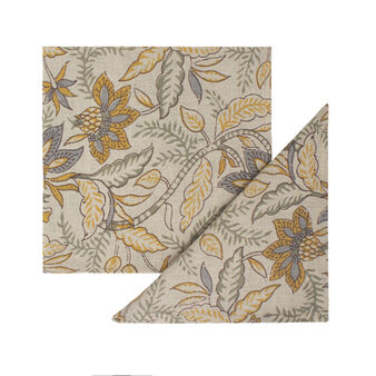 2-pack stylised flowers napkins in linen and cotton
