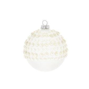 Hand-decorated matt white glass bauble