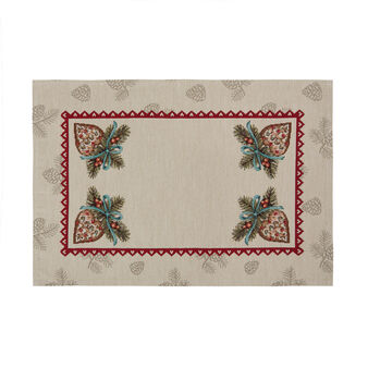 Gobelin table mat with pine cone motif