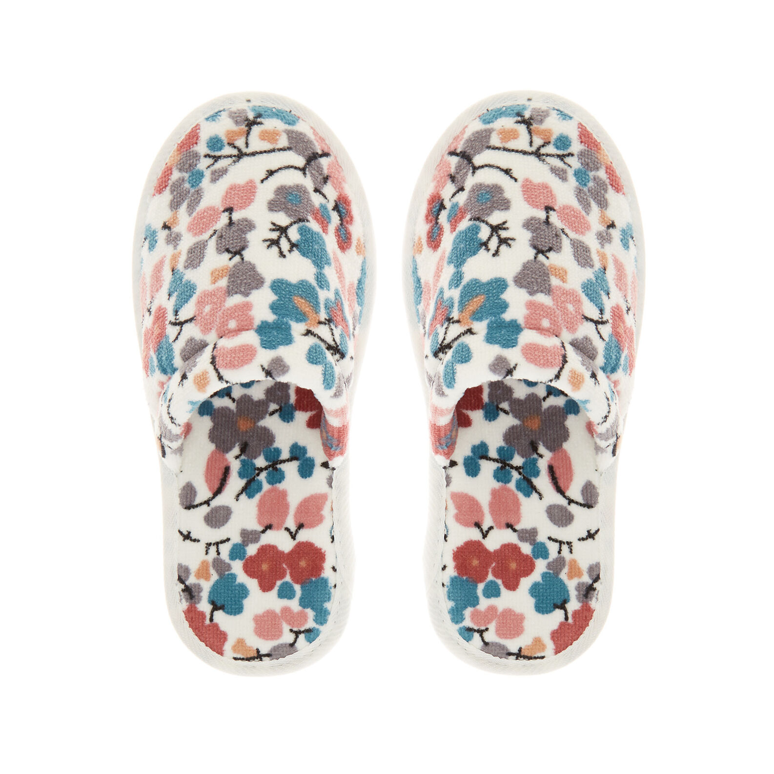 Cotton velour slippers with floral print