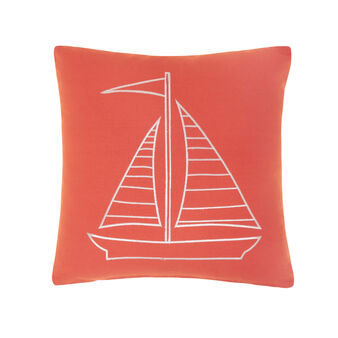 Cushion in 100% cotton with boat embroidery